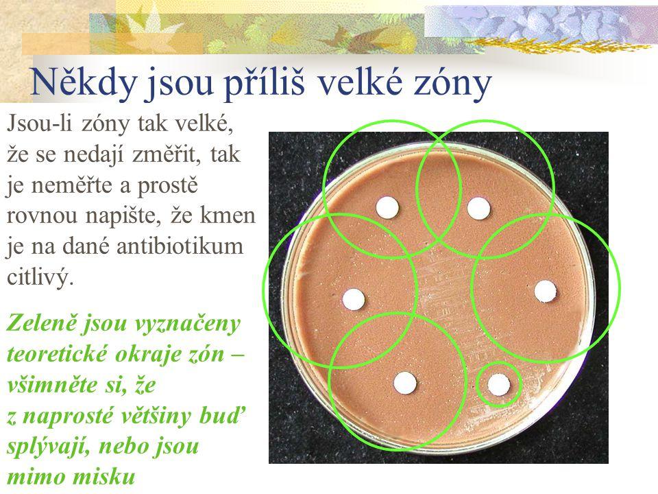 Někdy jsou příliš velké zóny Jsou-li zóny tak velké, že se nedají změřit, tak je neměřte a prostě rovnou napište, že kmen je na dané antibiotikum citl