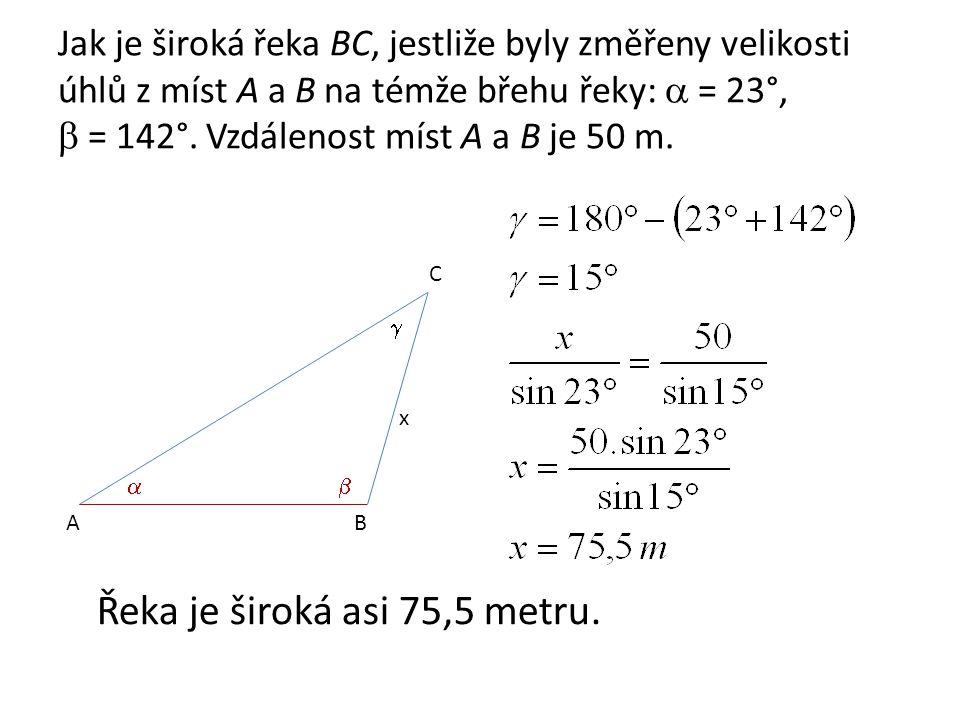Úlohy k procvičení 1.Určete vzdálenost dvou míst K a M, oddělených od sebe bažinou, jsou-li změřeny z míst K a L, vzdálených od sebe 120 m, velikosti úhlu při vrcholu K měří 72°12´, při vrcholu L měří 44°48´.