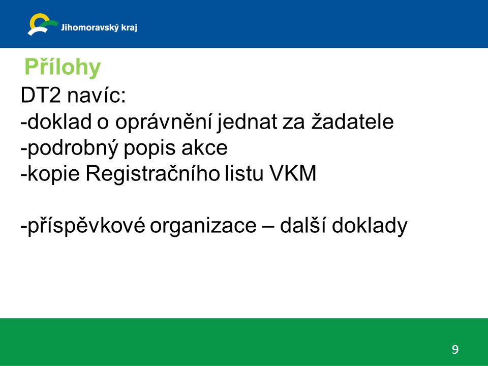 Přílohy 9 DT2 navíc: -doklad o oprávnění jednat za žadatele -podrobný popis akce -kopie Registračního listu VKM -příspěvkové organizace – další doklad