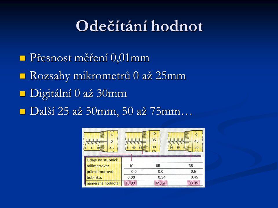 Odečítání hodnot Přesnost měření 0,01mm Přesnost měření 0,01mm Rozsahy mikrometrů 0 až 25mm Rozsahy mikrometrů 0 až 25mm Digitální 0 až 30mm Digitální