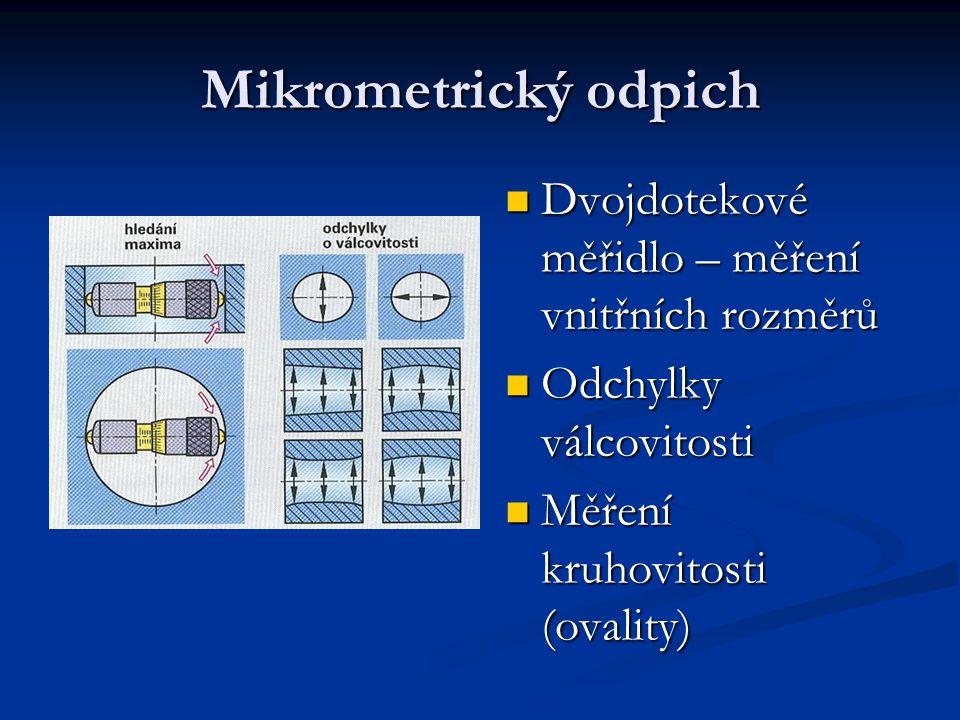 Mikrometrický odpich Dvojdotekové měřidlo – měření vnitřních rozměrů Dvojdotekové měřidlo – měření vnitřních rozměrů Odchylky válcovitosti Odchylky vá