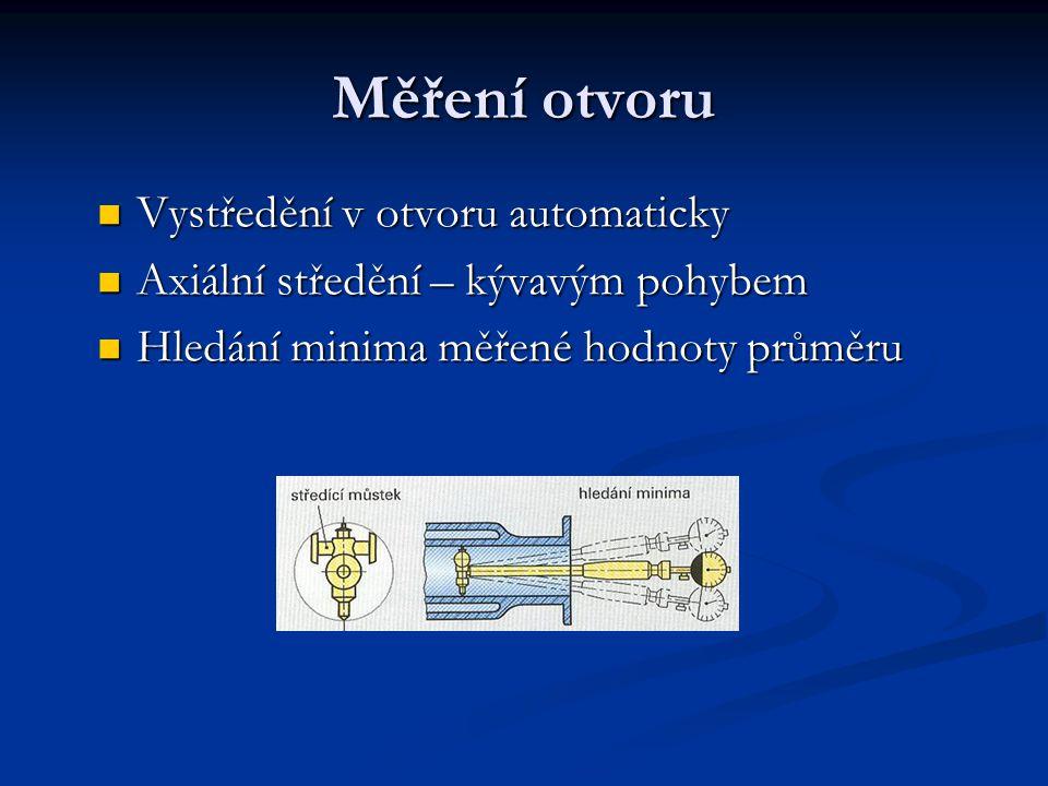 Měření otvoru Vystředění v otvoru automaticky Vystředění v otvoru automaticky Axiální středění – kývavým pohybem Axiální středění – kývavým pohybem Hl