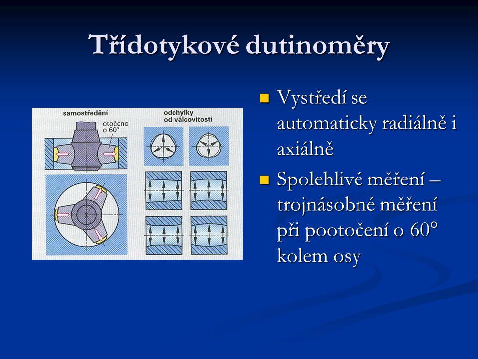 Třídotykové dutinoměry Vystředí se automaticky radiálně i axiálně Vystředí se automaticky radiálně i axiálně Spolehlivé měření – trojnásobné měření př