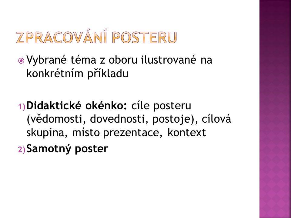 Vybrané téma z oboru ilustrované na konkrétním příkladu 1) Didaktické okénko: cíle posteru (vědomosti, dovednosti, postoje), cílová skupina, místo p