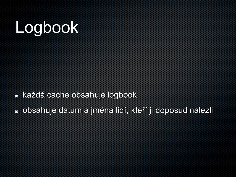 Logbook každá cache obsahuje logbook obsahuje datum a jména lidí, kteří ji doposud nalezli