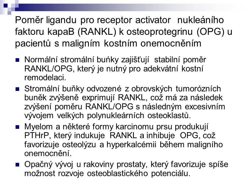 Poměr ligandu pro receptor activator nukleáního faktoru kapaB (RANKL) k osteoprotegrinu (OPG) u pacientů s maligním kostním onemocněním Normální strom