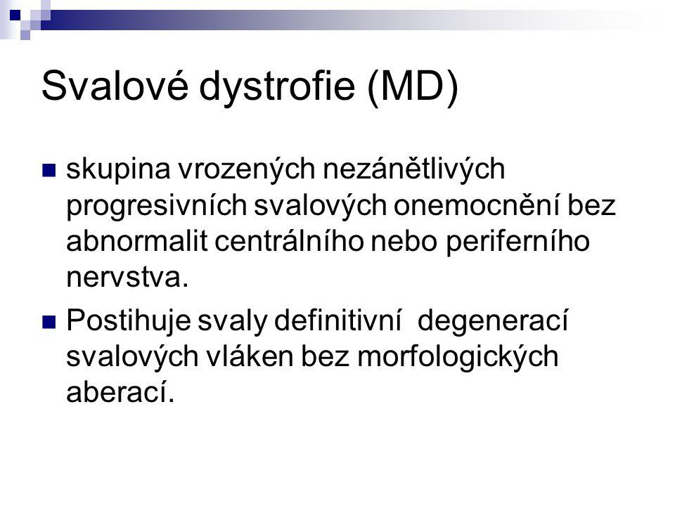 Svalové dystrofie (MD) skupina vrozených nezánětlivých progresivních svalových onemocnění bez abnormalit centrálního nebo periferního nervstva. Postih