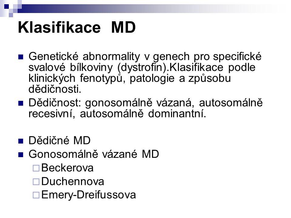 Klasifikace MD Genetické abnormality v genech pro specifické svalové bílkoviny (dystrofin).Klasifikace podle klinických fenotypů, patologie a způsobu