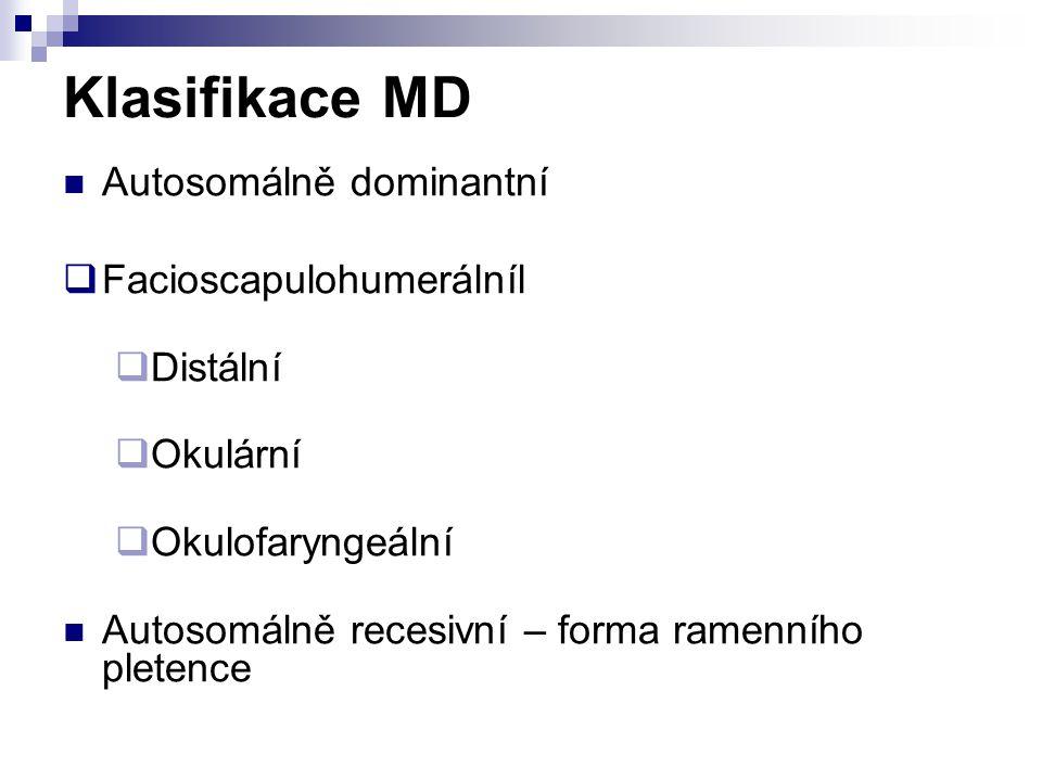 Klasifikace MD Autosomálně dominantní  Facioscapulohumerálníl  Distální  Okulární  Okulofaryngeální Autosomálně recesivní – forma ramenního pleten