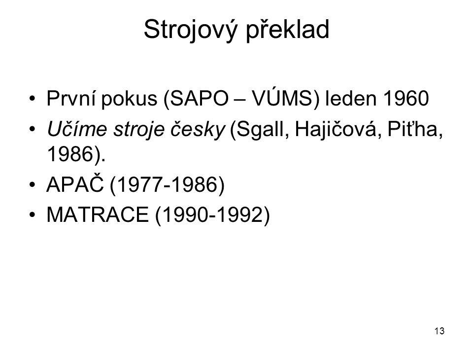 13 Strojový překlad První pokus (SAPO – VÚMS) leden 1960 Učíme stroje česky (Sgall, Hajičová, Piťha, 1986).