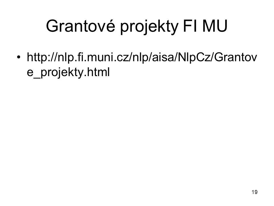 19 Grantové projekty FI MU http://nlp.fi.muni.cz/nlp/aisa/NlpCz/Grantov e_projekty.html
