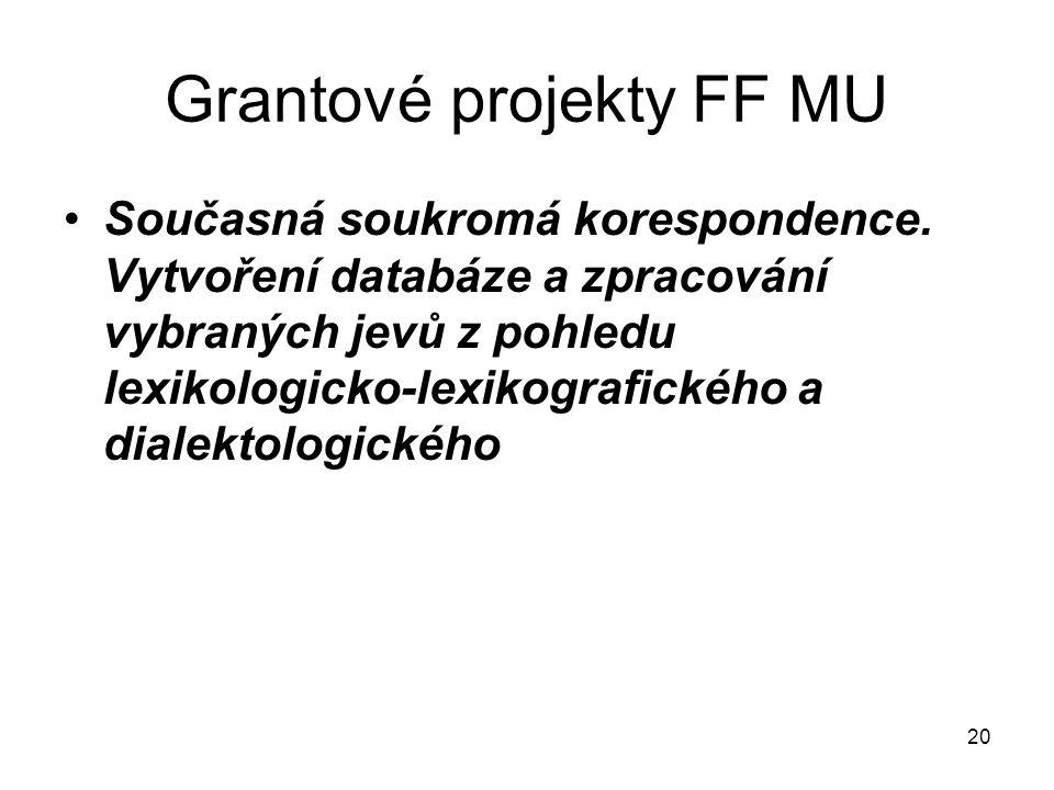 20 Grantové projekty FF MU Současná soukromá korespondence.