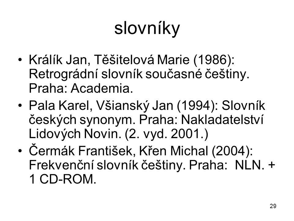 29 slovníky Králík Jan, Těšitelová Marie (1986): Retrográdní slovník současné češtiny.
