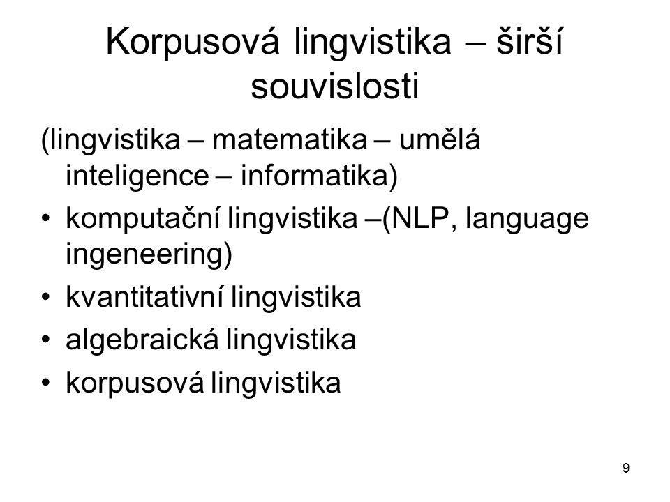 9 Korpusová lingvistika – širší souvislosti (lingvistika – matematika – umělá inteligence – informatika) komputační lingvistika –(NLP, language ingeneering) kvantitativní lingvistika algebraická lingvistika korpusová lingvistika