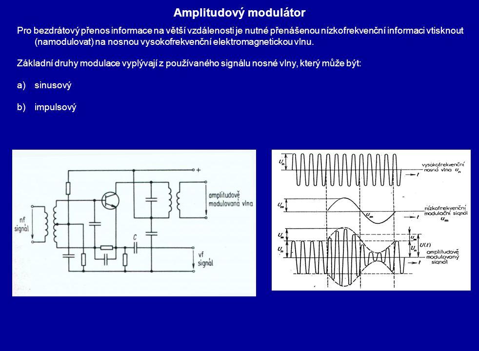 Amplitudový modulátor Pro bezdrátový přenos informace na větší vzdálenosti je nutné přenášenou nízkofrekvenční informaci vtisknout (namodulovat) na no