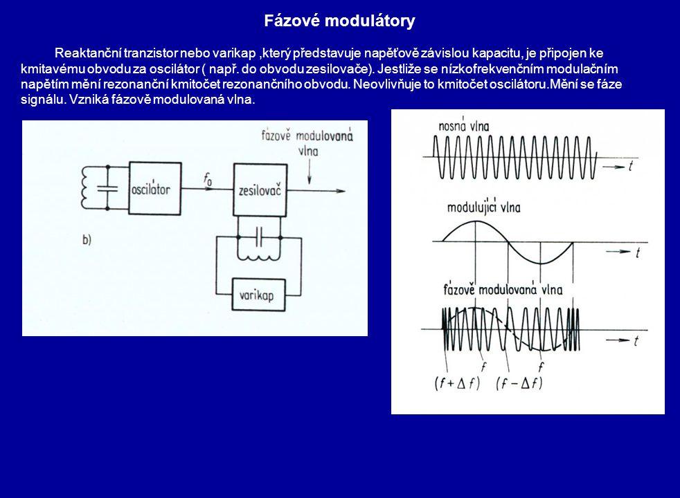 Fázové modulátory Reaktanční tranzistor nebo varikap,který představuje napěťově závislou kapacitu, je připojen ke kmitavému obvodu za oscilátor ( např