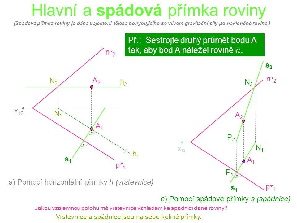 Hlavní a spádová přímka roviny x 12 p1p1 n2n2 h1h1 h2h2 N1N1 N2N2 A1A1 A2A2 Př.: Sestrojte druhý průmět bodu A tak, aby bod A náležel rovině .
