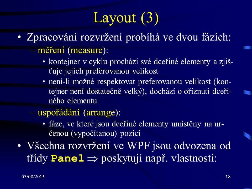 03/08/201518 Layout (3) Zpracování rozvržení probíhá ve dvou fázích: –měření (measure): kontejner v cyklu prochází své dceřiné elementy a zjiš- ťuje j