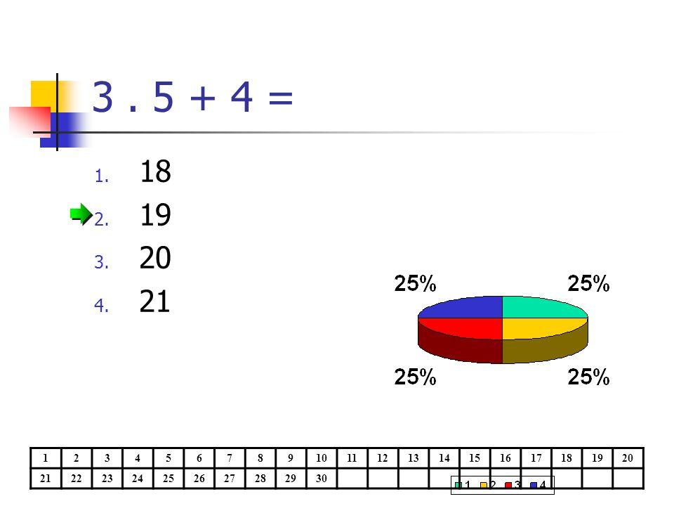 3. 5 + 4 = 1. 18 2. 19 3. 20 4. 21 1234567891011121314151617181920 21222324252627282930