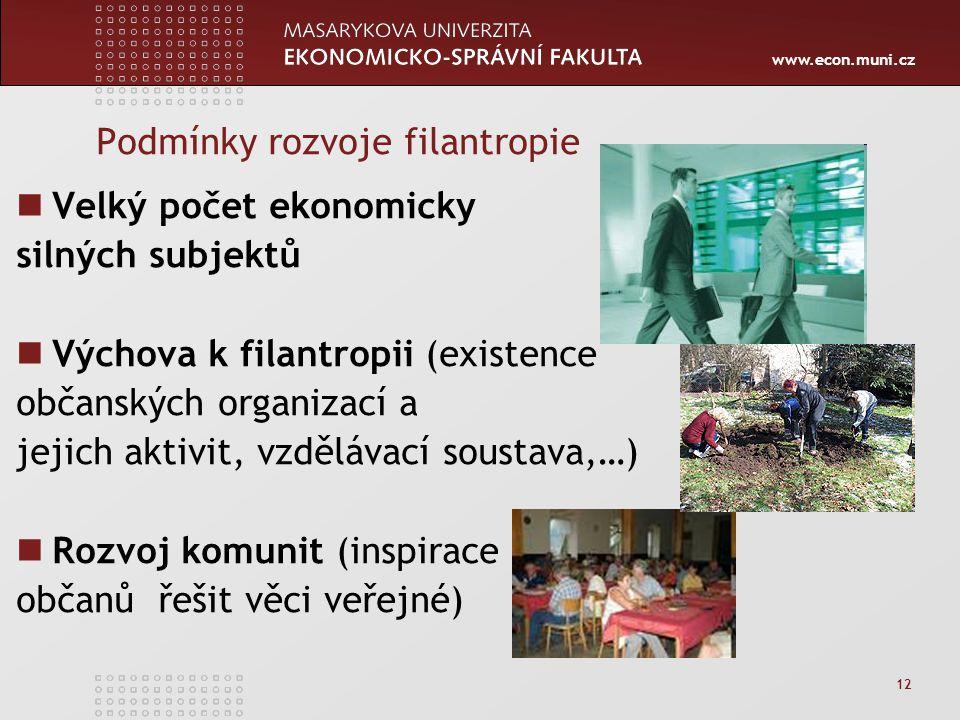 www.econ.muni.cz 12 Podmínky rozvoje filantropie Velký počet ekonomicky silných subjektů Výchova k filantropii (existence občanských organizací a jeji