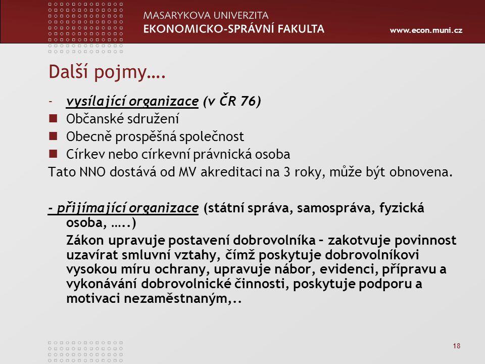 www.econ.muni.cz 18 Další pojmy…. -vysílající organizace (v ČR 76) Občanské sdružení Obecně prospěšná společnost Církev nebo církevní právnická osoba