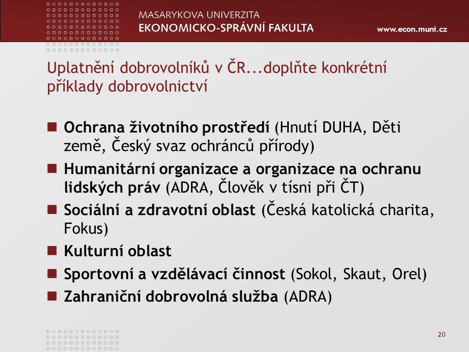 www.econ.muni.cz 20 Uplatnění dobrovolníků v ČR...doplňte konkrétní příklady dobrovolnictví Ochrana životního prostředí (Hnutí DUHA, Děti země, Český