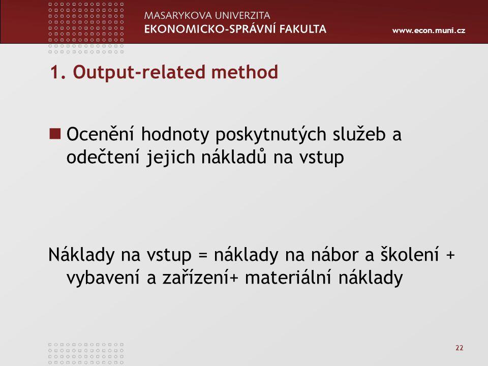 www.econ.muni.cz 22 1. Output-related method Ocenění hodnoty poskytnutých služeb a odečtení jejich nákladů na vstup Náklady na vstup = náklady na nábo