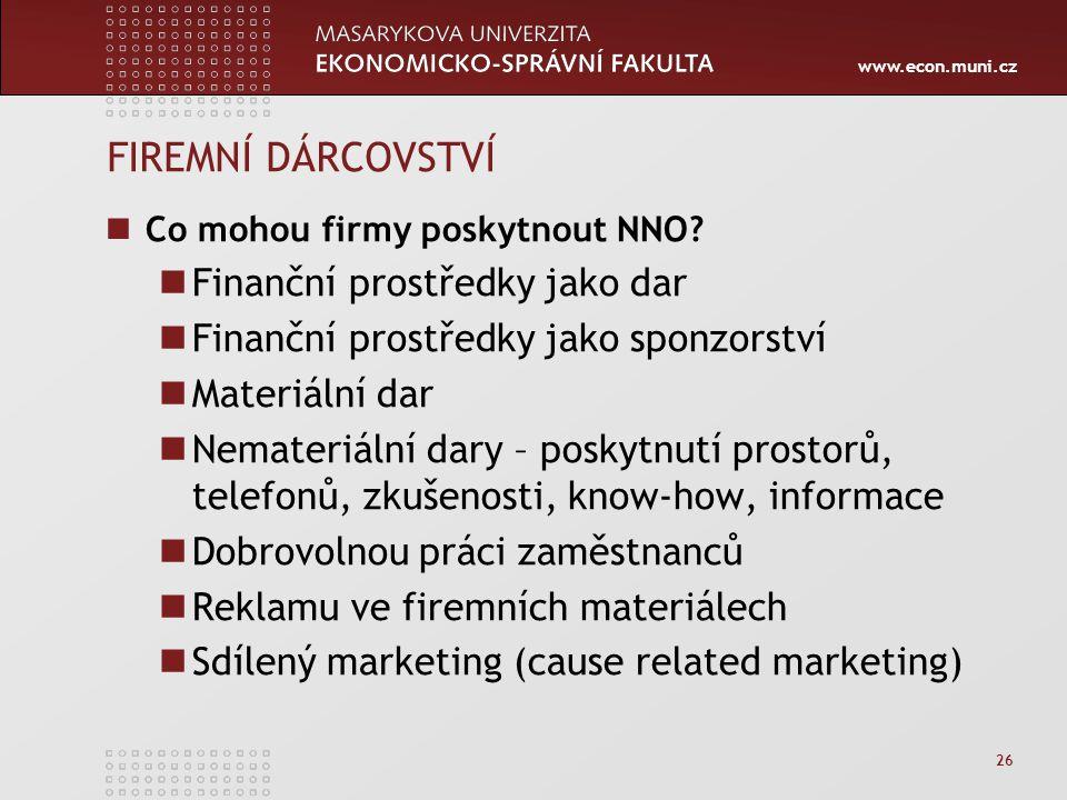 www.econ.muni.cz 26 FIREMNÍ DÁRCOVSTVÍ Co mohou firmy poskytnout NNO? Finanční prostředky jako dar Finanční prostředky jako sponzorství Materiální dar