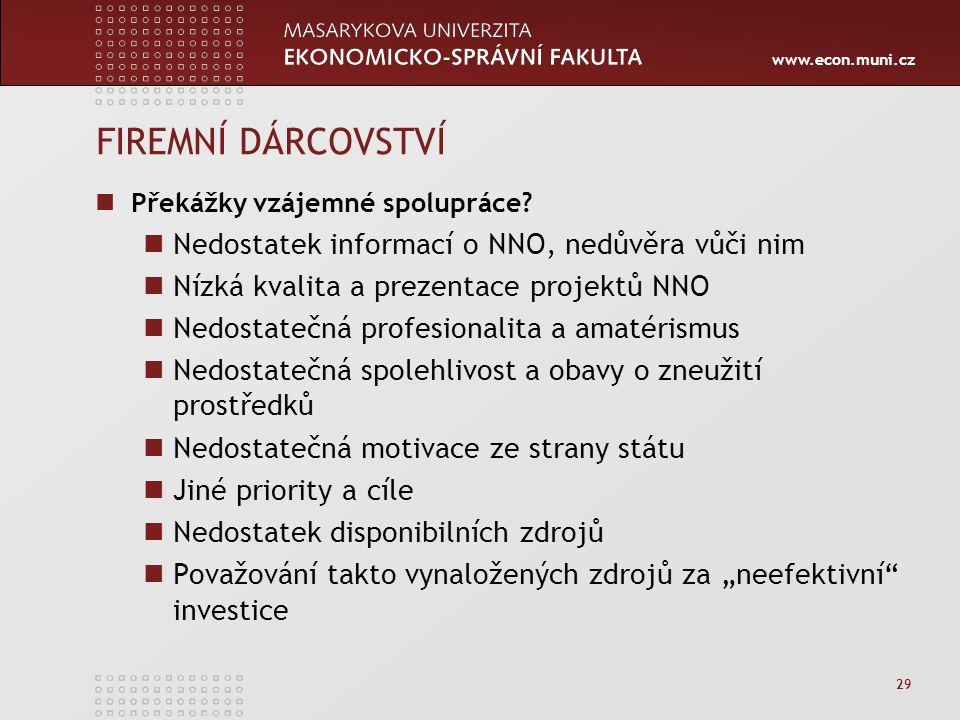 www.econ.muni.cz 29 FIREMNÍ DÁRCOVSTVÍ Překážky vzájemné spolupráce? Nedostatek informací o NNO, nedůvěra vůči nim Nízká kvalita a prezentace projektů