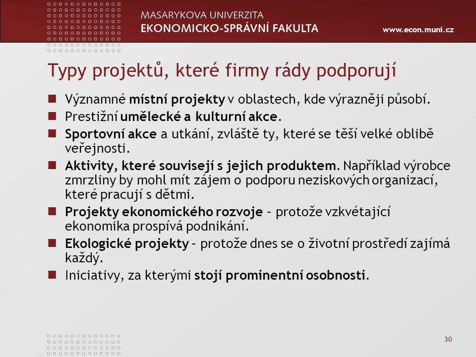 www.econ.muni.cz 30 Typy projektů, které firmy rády podporují Významné místní projekty v oblastech, kde výrazněji působí. Prestižní umělecké a kulturn