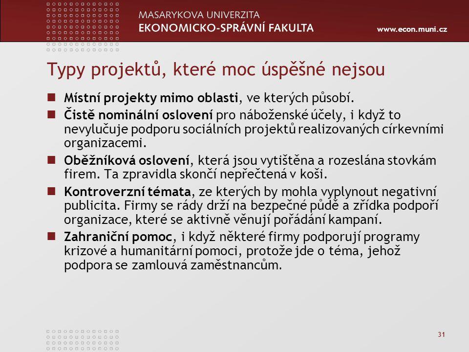 www.econ.muni.cz 31 Typy projektů, které moc úspěšné nejsou Místní projekty mimo oblasti, ve kterých působí. Čistě nominální oslovení pro náboženské ú