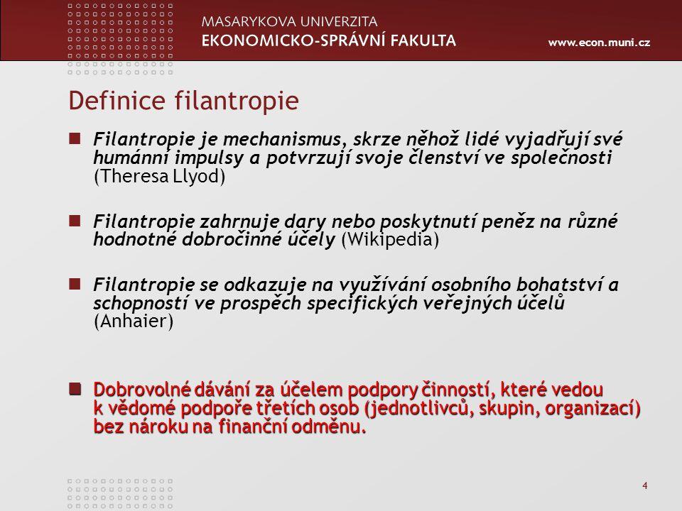 www.econ.muni.cz 4 Definice filantropie Filantropie je mechanismus, skrze něhož lidé vyjadřují své humánní impulsy a potvrzují svoje členství ve spole