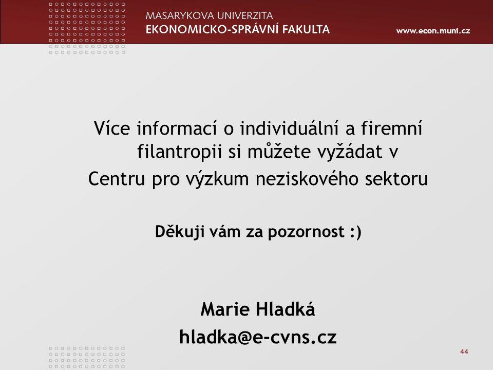 www.econ.muni.cz 44 Více informací o individuální a firemní filantropii si můžete vyžádat v Centru pro výzkum neziskového sektoru Děkuji vám za pozorn