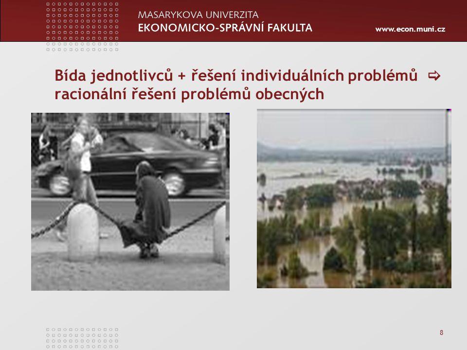 www.econ.muni.cz 8 Bída jednotlivců + řešení individuálních problémů  racionální řešení problémů obecných