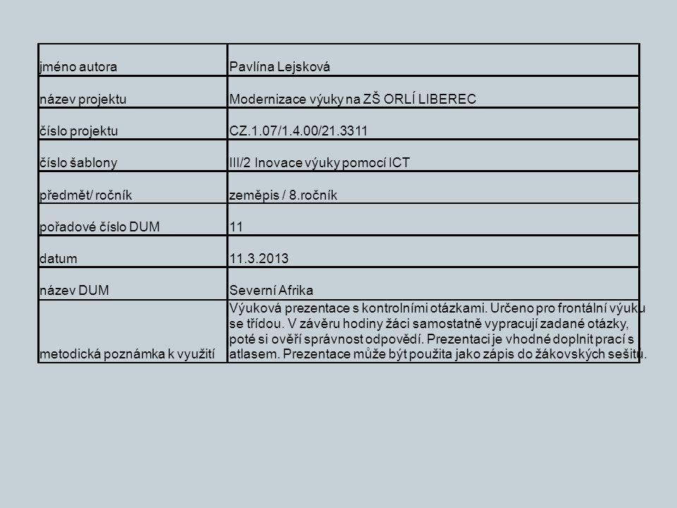 jméno autoraPavlína Lejsková název projektuModernizace výuky na ZŠ ORLÍ LIBEREC číslo projektuCZ.1.07/1.4.00/21.3311 číslo šablonyIII/2 Inovace výuky pomocí ICT předmět/ ročníkzeměpis / 8.ročník pořadové číslo DUM11 datum11.3.2013 název DUMSeverní Afrika metodická poznámka k využití Výuková prezentace s kontrolními otázkami.
