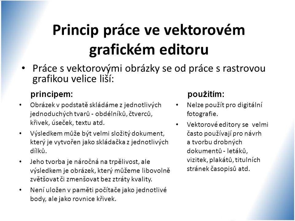 Princip práce ve vektorovém grafickém editoru Práce s vektorovými obrázky se od práce s rastrovou grafikou velice liší: principem: Obrázek v podstatě