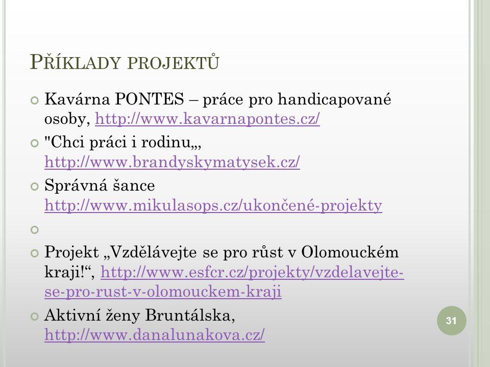 """P ŘÍKLADY PROJEKTŮ Kavárna PONTES – práce pro handicapované osoby, http://www.kavarnapontes.cz/http://www.kavarnapontes.cz/ Chci práci i rodinu"""", http://www.brandyskymatysek.cz/ http://www.brandyskymatysek.cz/ Správná šance http://www.mikulasops.cz/ukončené-projekty http://www.mikulasops.cz/ukončené-projekty Projekt """"Vzdělávejte se pro růst v Olomouckém kraji! , http://www.esfcr.cz/projekty/vzdelavejte- se-pro-rust-v-olomouckem-krajihttp://www.esfcr.cz/projekty/vzdelavejte- se-pro-rust-v-olomouckem-kraji Aktivní ženy Bruntálska, http://www.danalunakova.cz/ http://www.danalunakova.cz/ 31"""