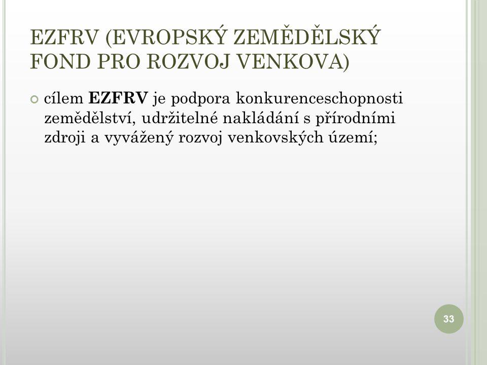 EZFRV (EVROPSKÝ ZEMĚDĚLSKÝ FOND PRO ROZVOJ VENKOVA) cílem EZFRV je podpora konkurenceschopnosti zemědělství, udržitelné nakládání s přírodními zdroji a vyvážený rozvoj venkovských území; 33