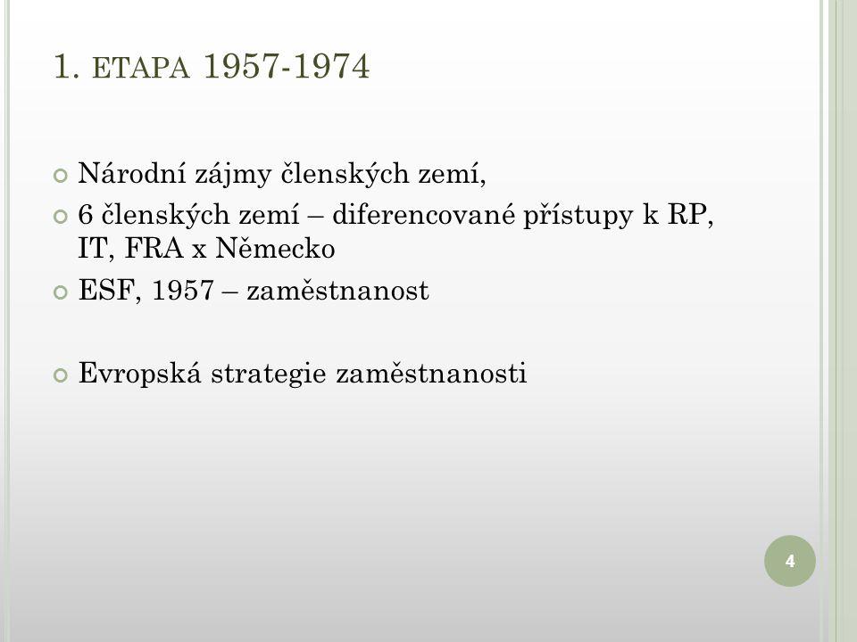 1. ETAPA 1957-1974 Národní zájmy členských zemí, 6 členských zemí – diferencované přístupy k RP, IT, FRA x Německo ESF, 1957 – zaměstnanost Evropská s