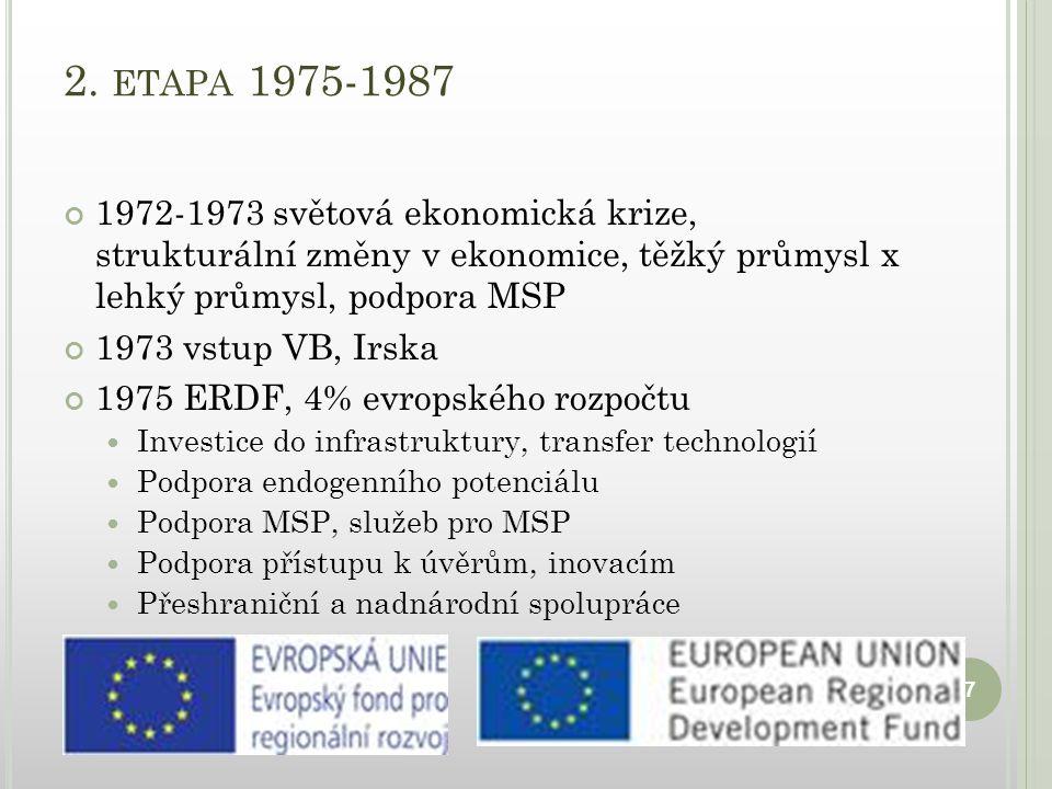 2. ETAPA 1975-1987 1972-1973 světová ekonomická krize, strukturální změny v ekonomice, těžký průmysl x lehký průmysl, podpora MSP 1973 vstup VB, Irska