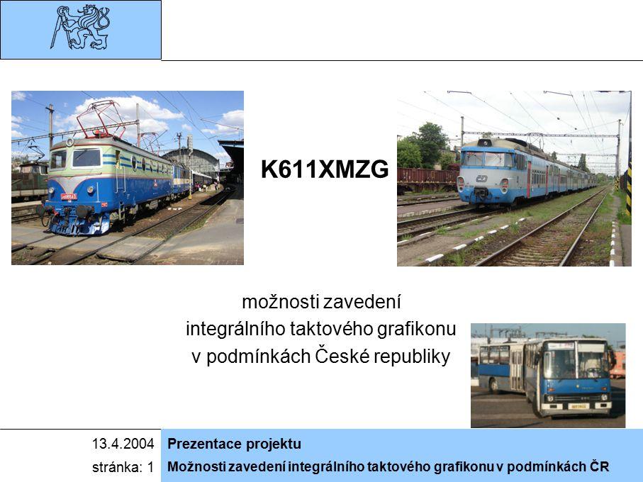 Možnosti zavedení integrálního taktového grafikonu v podmínkách ČR 13.4.2004Prezentace projektu stránka: 1 K611XMZG možnosti zavedení integrálního tak