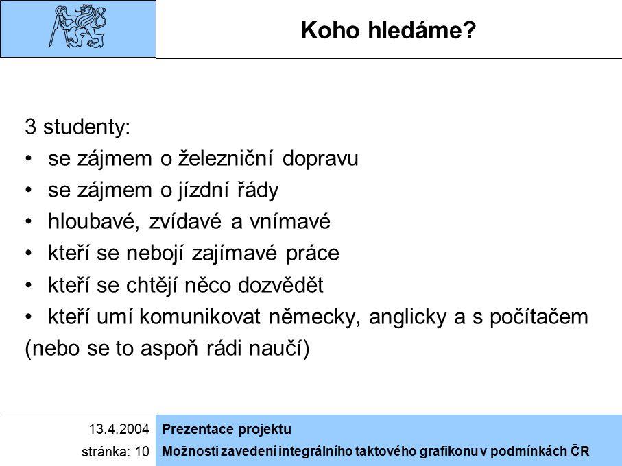 Možnosti zavedení integrálního taktového grafikonu v podmínkách ČR 13.4.2004Prezentace projektu stránka: 10 Koho hledáme? 3 studenty: se zájmem o žele
