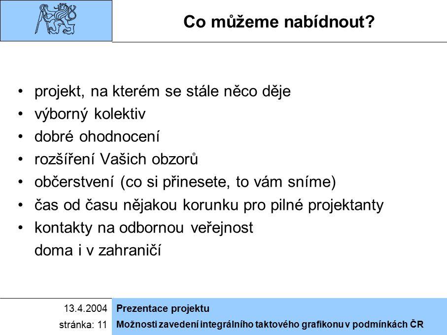 Možnosti zavedení integrálního taktového grafikonu v podmínkách ČR 13.4.2004Prezentace projektu stránka: 11 Co můžeme nabídnout.