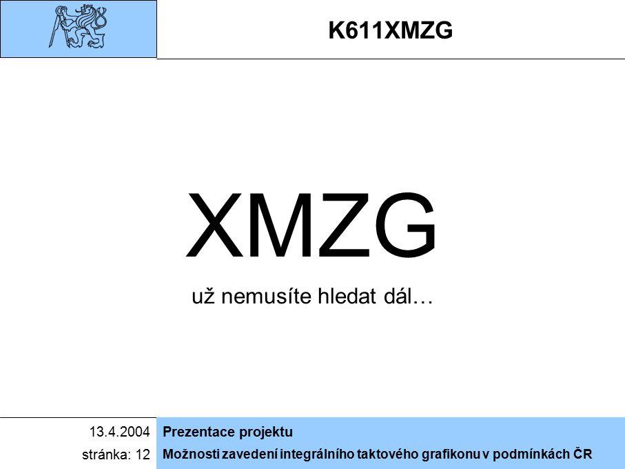 Možnosti zavedení integrálního taktového grafikonu v podmínkách ČR 13.4.2004Prezentace projektu stránka: 12 scénář, režie, casting: Ing.