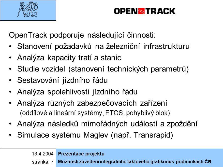 Možnosti zavedení integrálního taktového grafikonu v podmínkách ČR 13.4.2004Prezentace projektu stránka: 7 OpenTrack podporuje následující činnosti: S