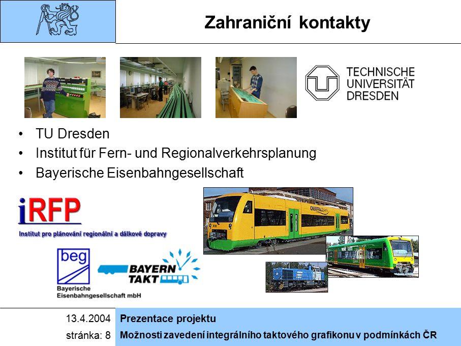 Možnosti zavedení integrálního taktového grafikonu v podmínkách ČR 13.4.2004Prezentace projektu stránka: 8 Zahraniční kontakty TU Dresden Institut für Fern- und Regionalverkehrsplanung Bayerische Eisenbahngesellschaft