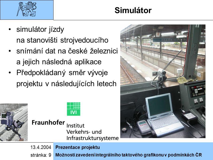 Možnosti zavedení integrálního taktového grafikonu v podmínkách ČR 13.4.2004Prezentace projektu stránka: 9 Simulátor simulátor jízdy na stanovišti str