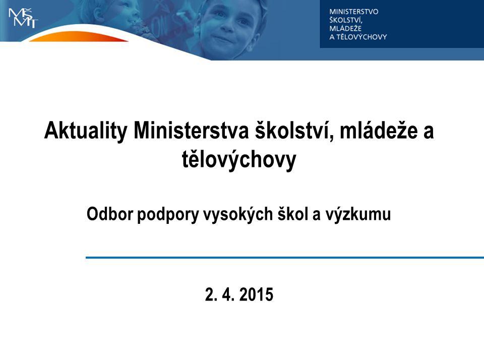 Aktuality Ministerstva školství, mládeže a tělovýchovy Odbor podpory vysokých škol a výzkumu 2.