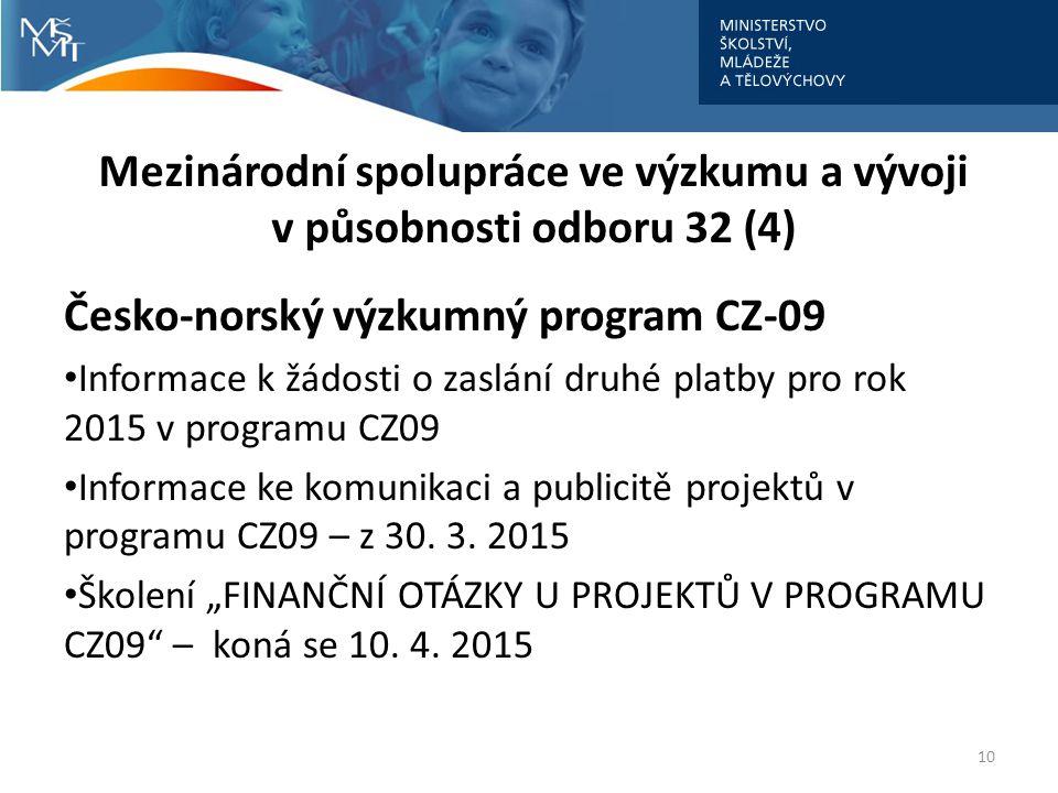 Mezinárodní spolupráce ve výzkumu a vývoji v působnosti odboru 32 (4) Česko-norský výzkumný program CZ-09 Informace k žádosti o zaslání druhé platby pro rok 2015 v programu CZ09 Informace ke komunikaci a publicitě projektů v programu CZ09 – z 30.