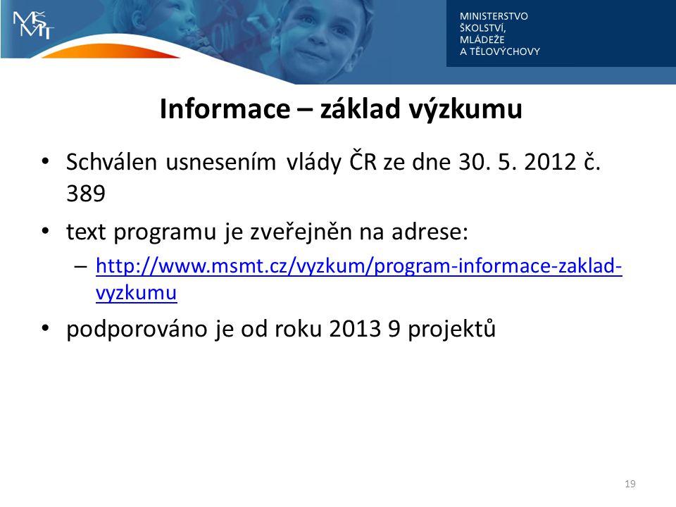 Informace – základ výzkumu 19 Schválen usnesením vlády ČR ze dne 30.